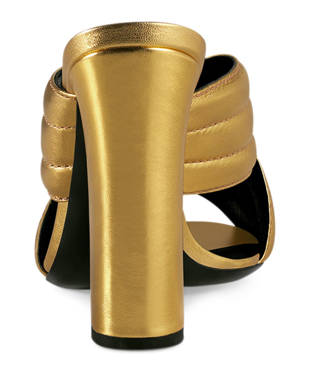 38d307dc385 Lyst - Gucci Webby Metallic Sandals in Metallic