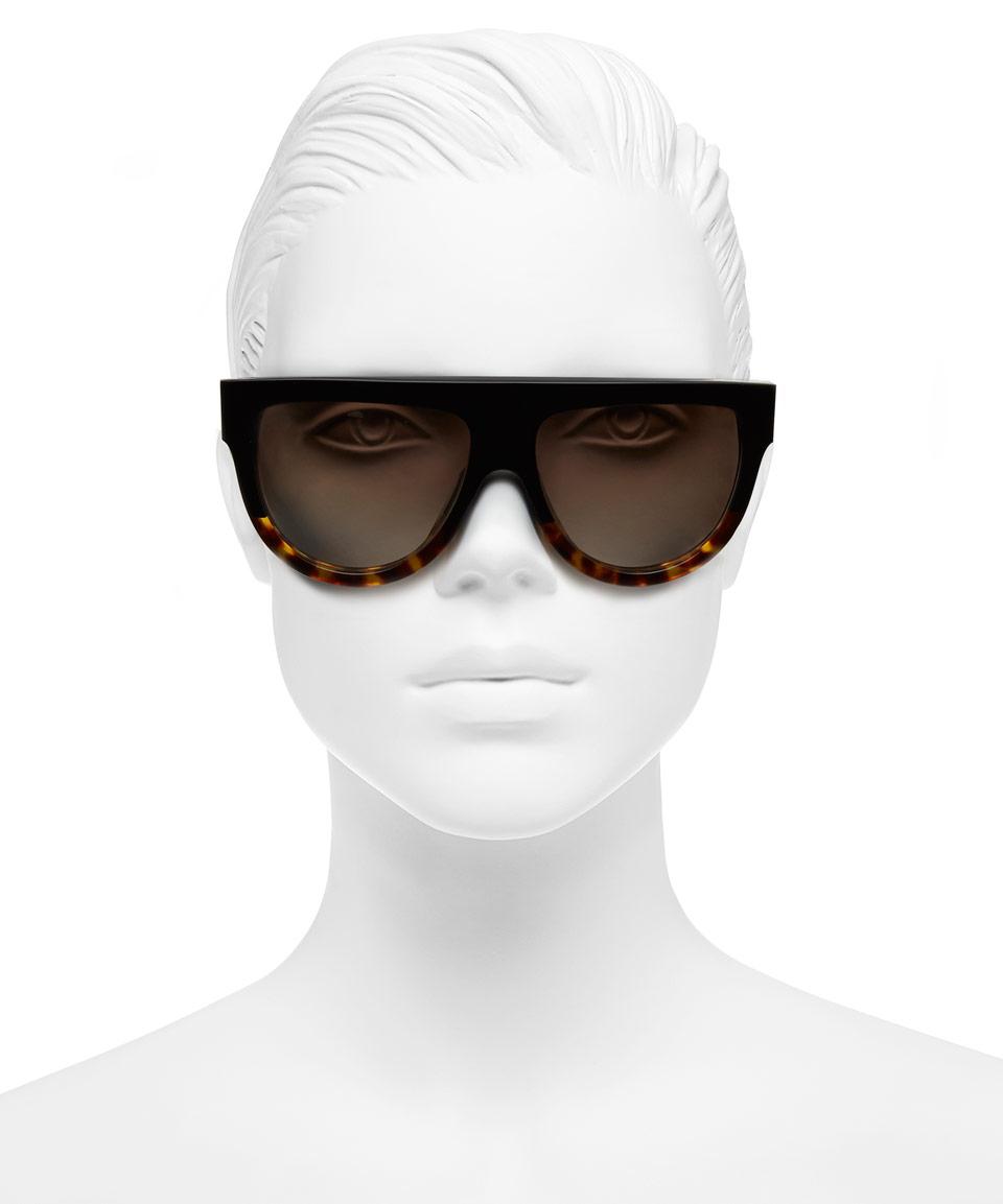 2d1ce4fde0b Lyst - Céline Tortoiseshell and Black Flat Top Acetate Sunglasses in ...