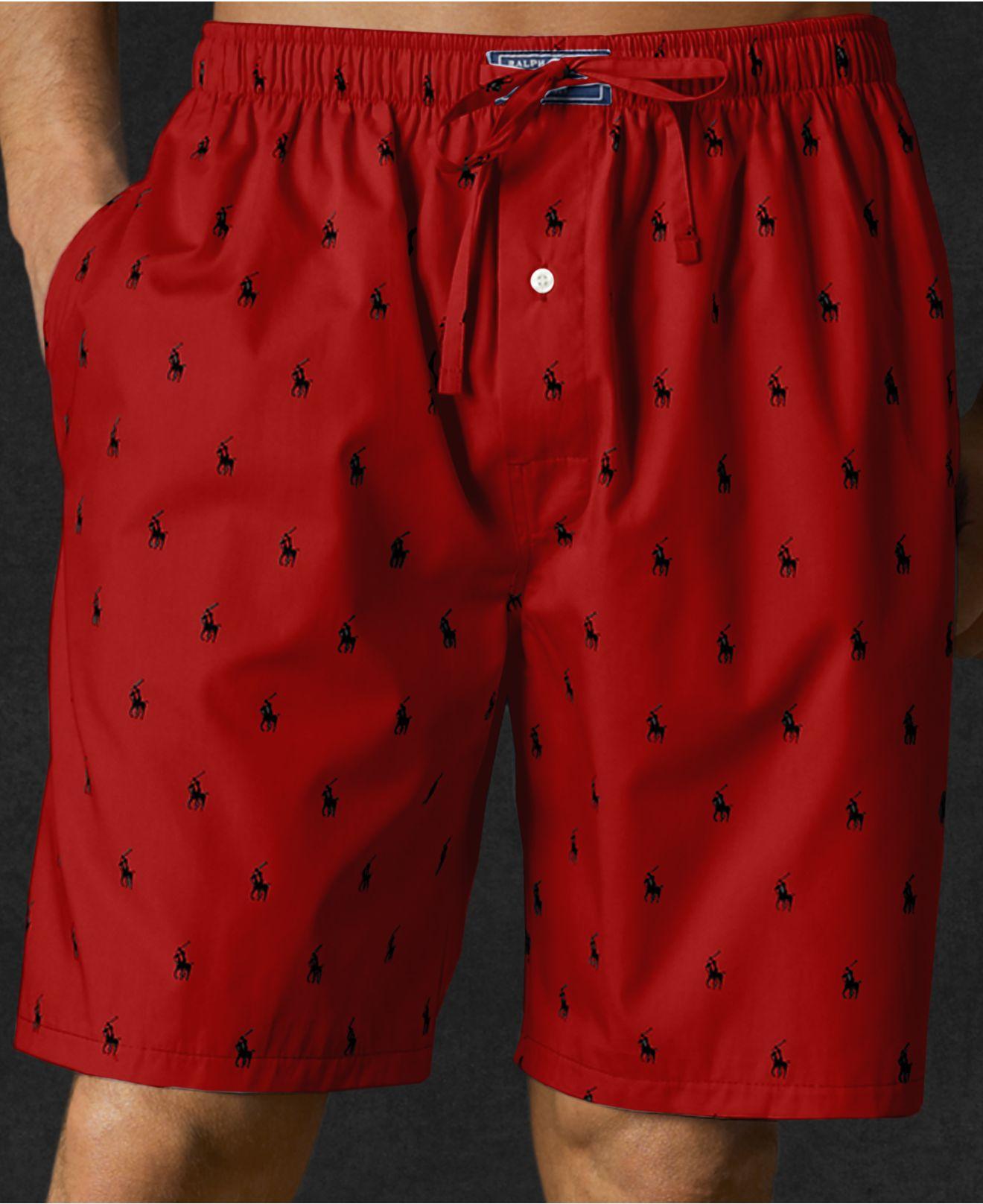7784957bfa80 denmark red polo chino shorts set 8432e af263  usa lyst polo ralph lauren  mens allover polo player woven pajama 07062 cf8b9