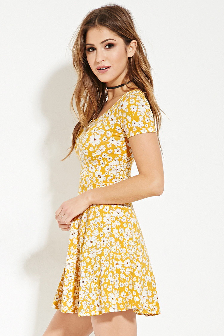 959290b78d9 Lyst - Forever 21 Floral Print Skater Dress in Yellow