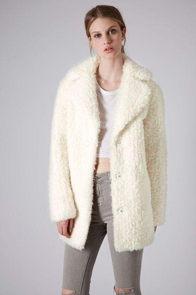 Topshop Tall Teddy Faux Fur Pea Coat In Beige Cream Lyst