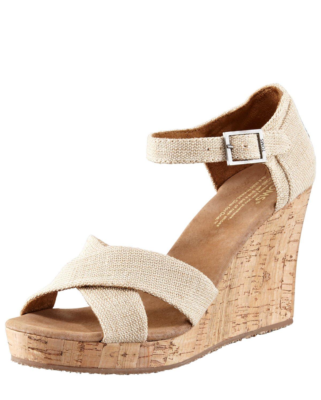 Toms Cork Wedge Sandal In Brown Lyst