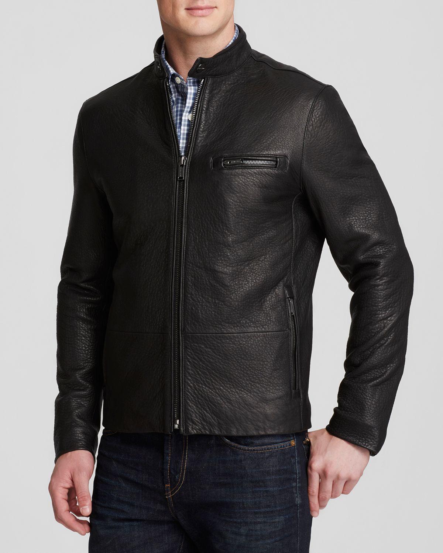 michael kors pebbled leather racer jacket in black for men lyst. Black Bedroom Furniture Sets. Home Design Ideas