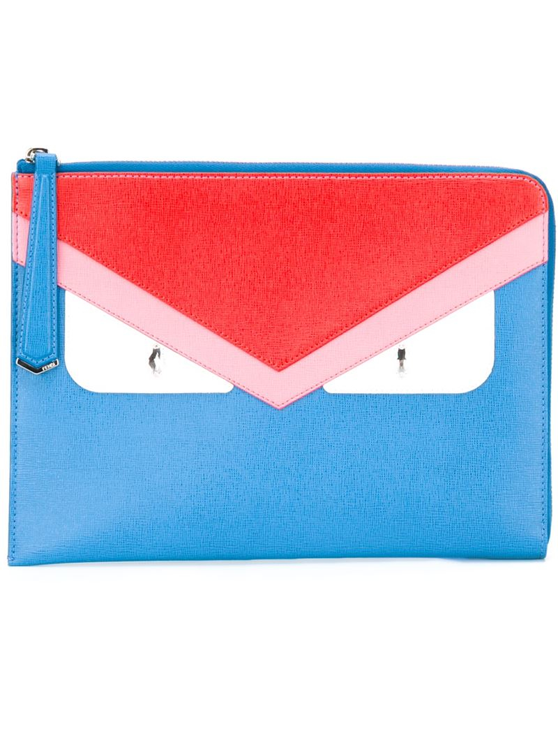 Lyst - Fendi Bag Bugs Clutch in Blue 20152ab1e8739