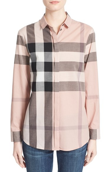 Burberry Check Print Cotton Shirt In Pink Lyst