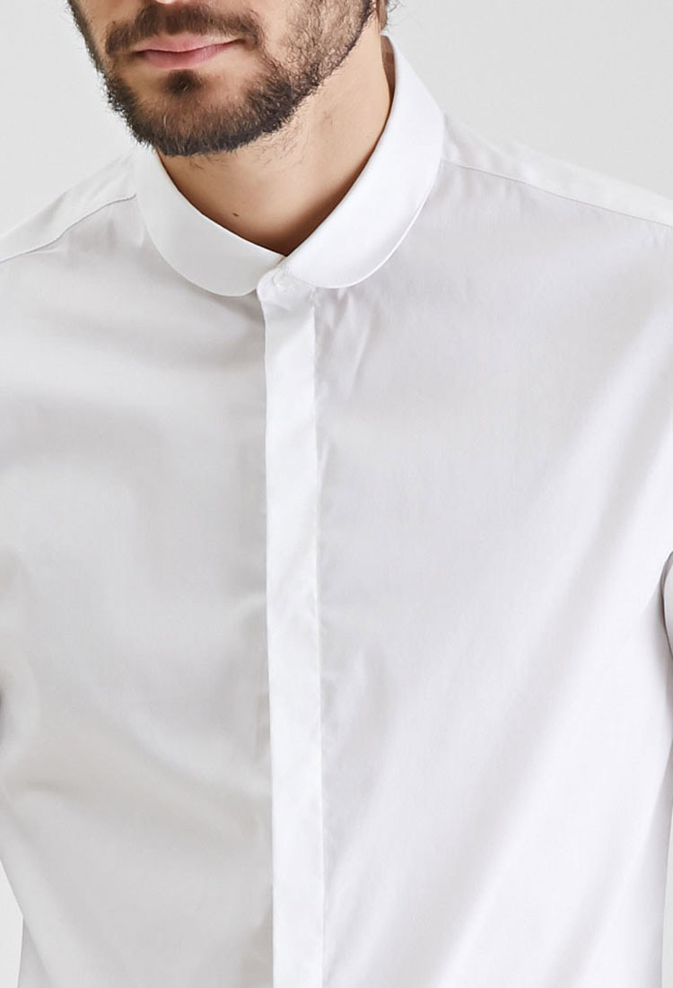 lyst forever 21 round collar button down shirt in white