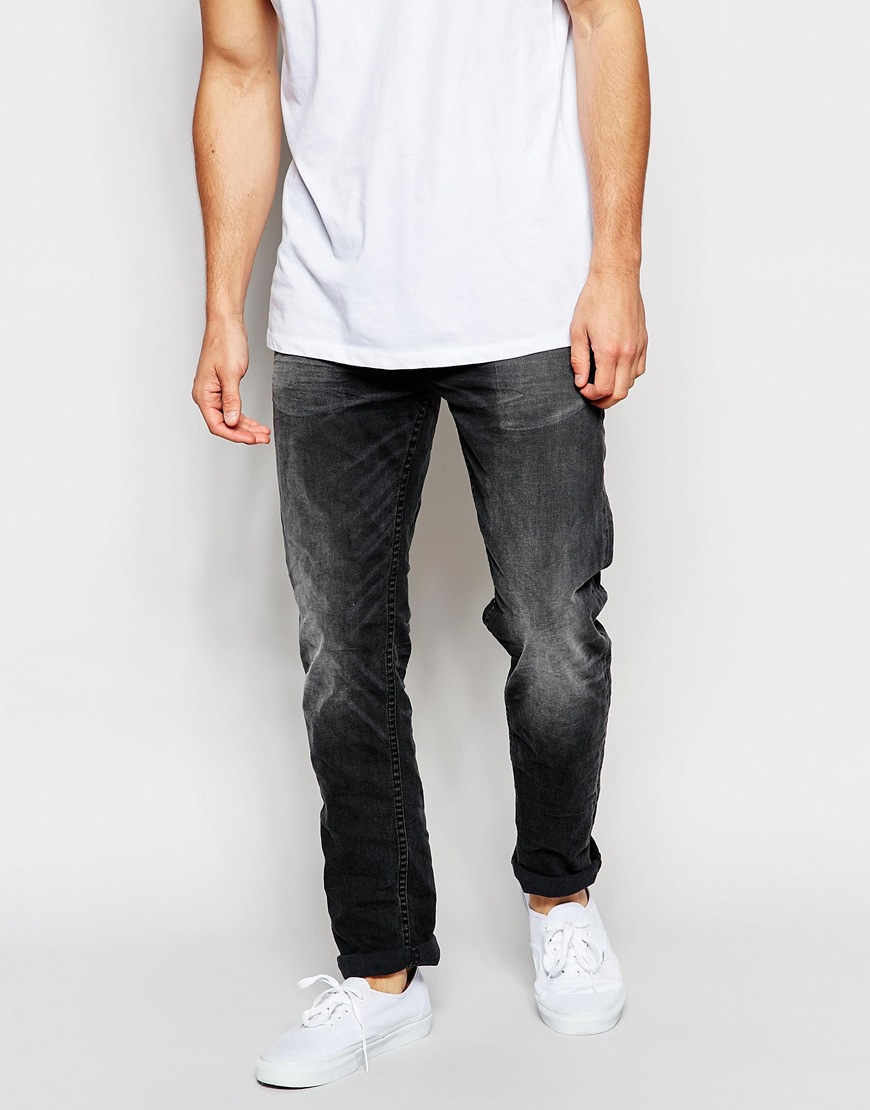 Only & sons Washed Black Jeans In Slim Fit in Black for Men | Lyst