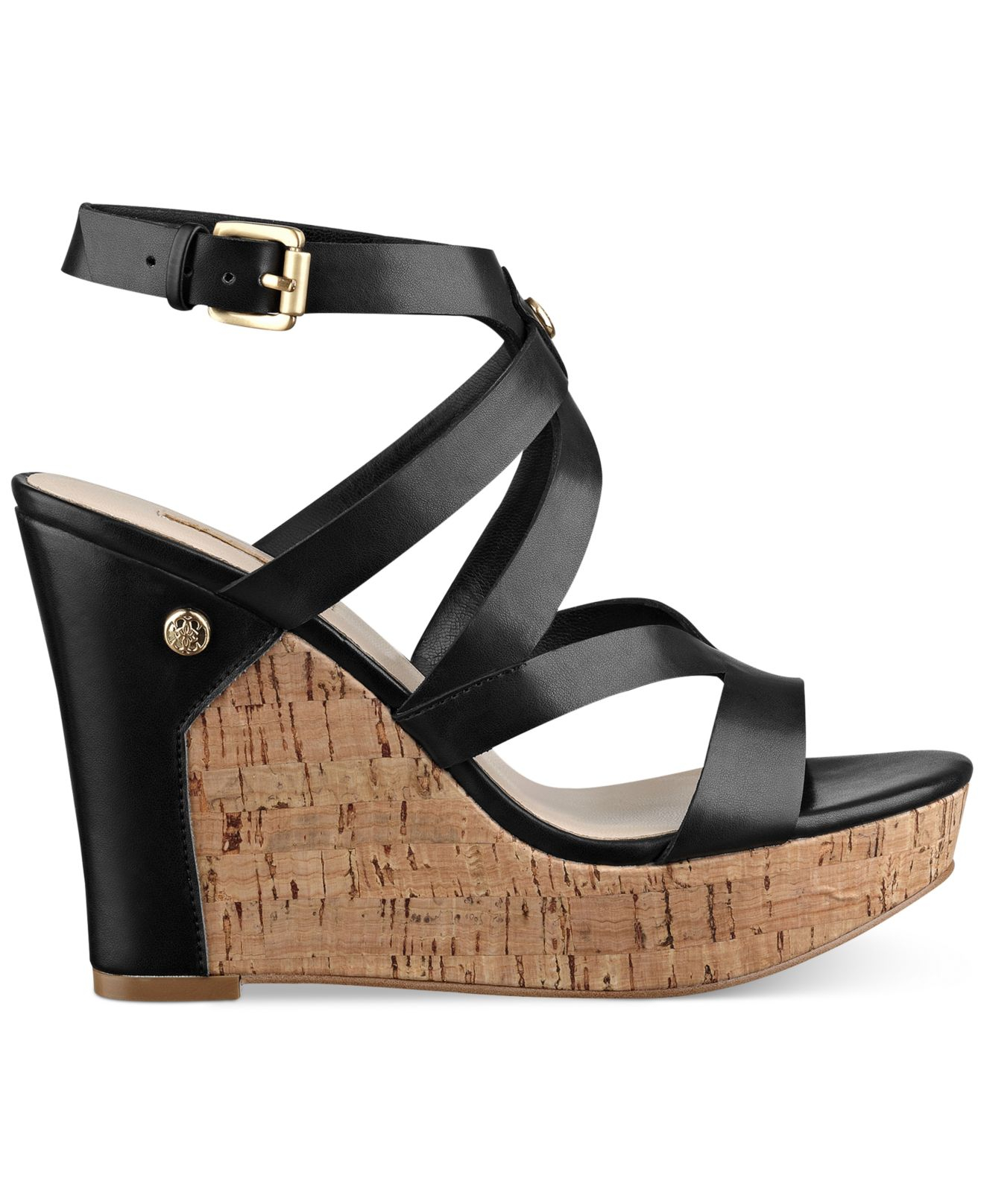 d8fa8af53826 Lyst - Guess Women s Harlee Cork Platform Wedge Sandals in Black