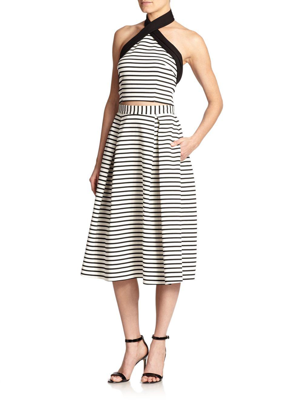 nicholas striped ponte a line skirt in black white