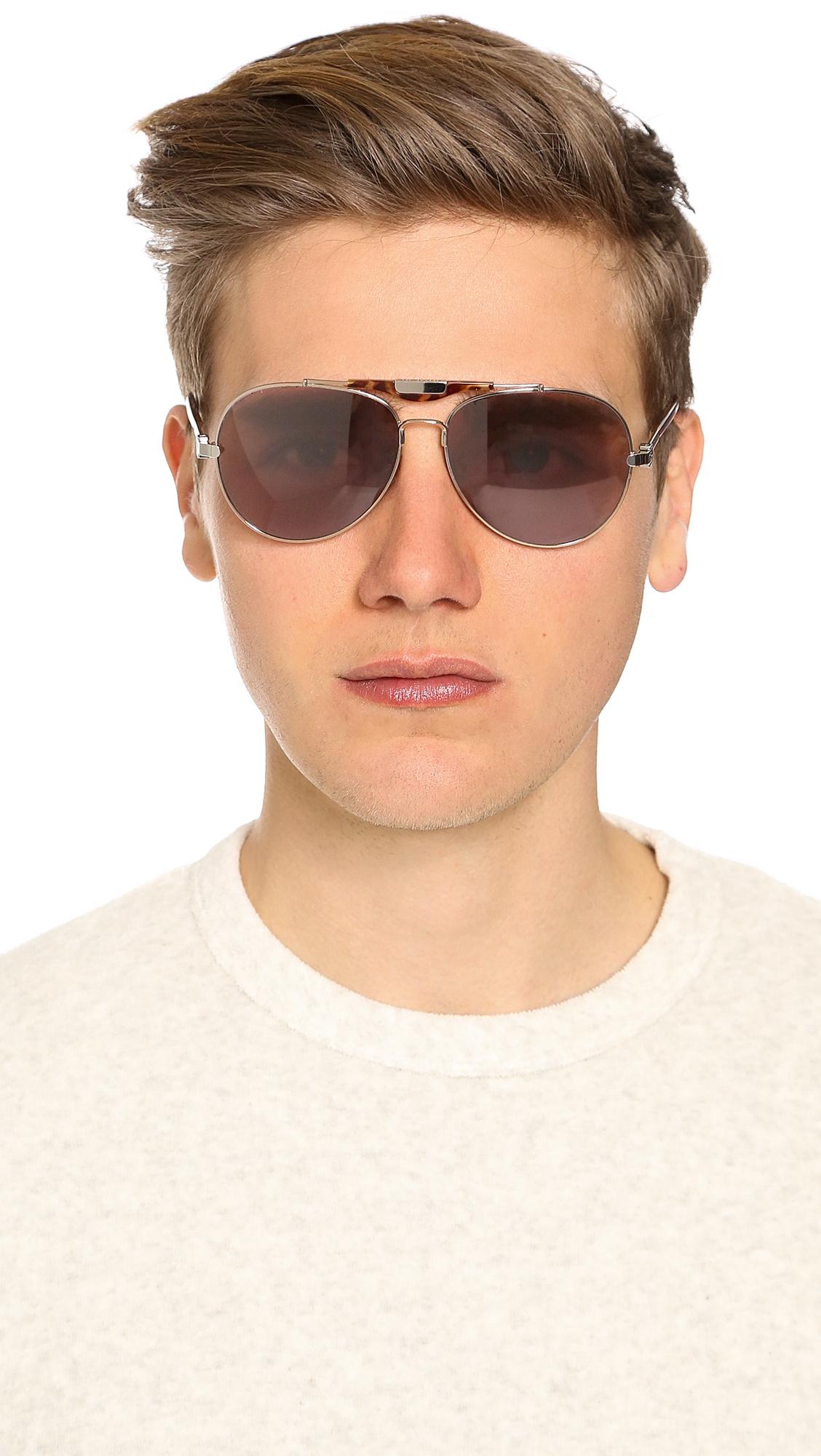 aeccbe6fa94 Lyst - Givenchy Sgva13 Aviator Sunglasses in Metallic for Men