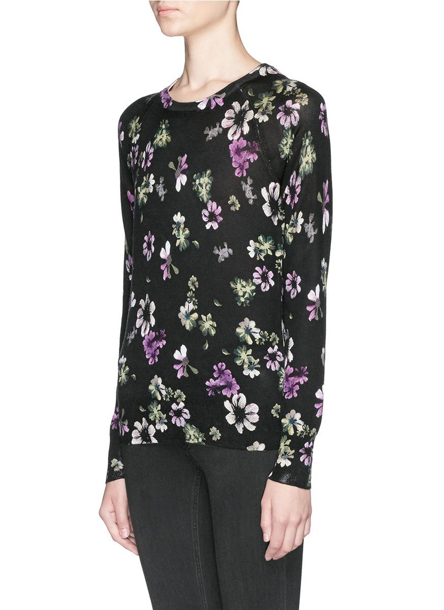 Equipment 'sloane' Floral Print Silk-cashmere Sweater in Black | Lyst