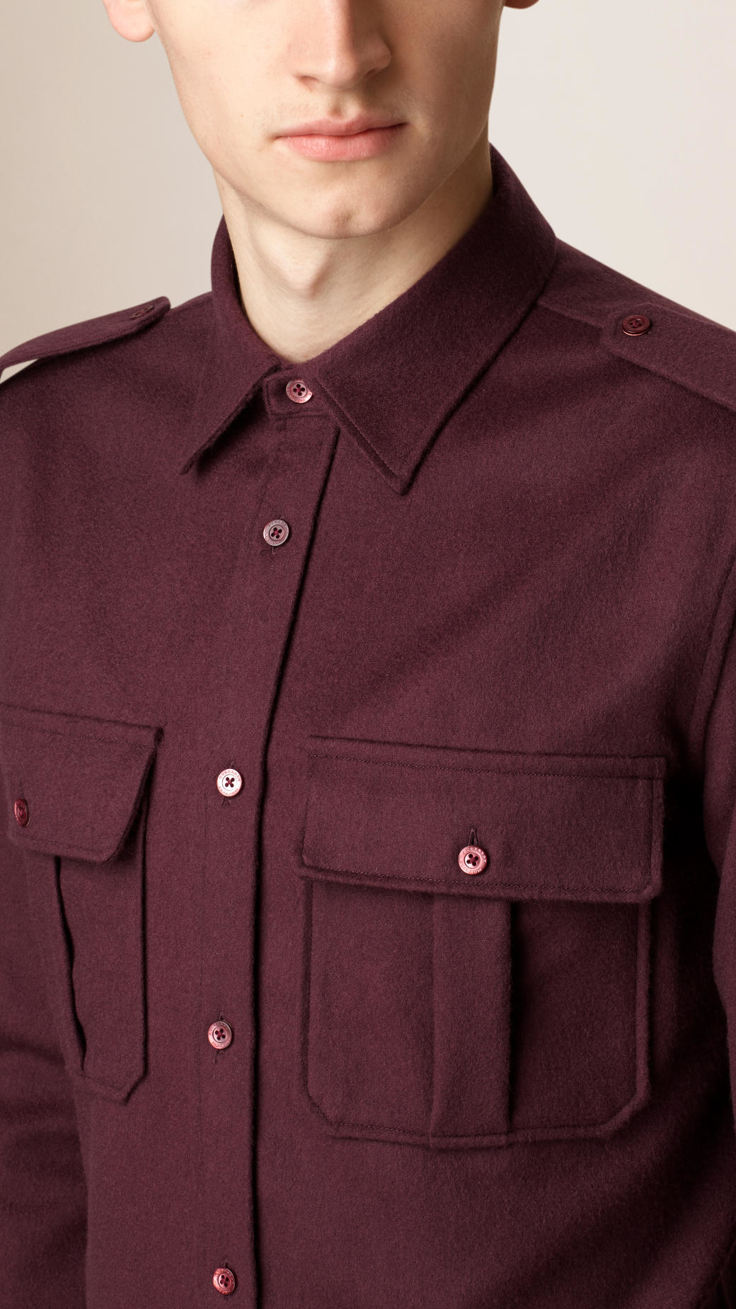 Burberry military virgin wool shirt in red for men lyst for Mens red wool shirt