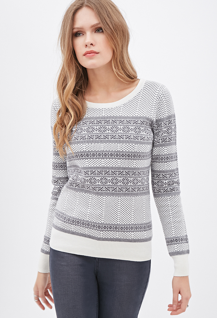 Forever 21 Contemporary Fair Isle Crew Neck Sweater You've Been ...