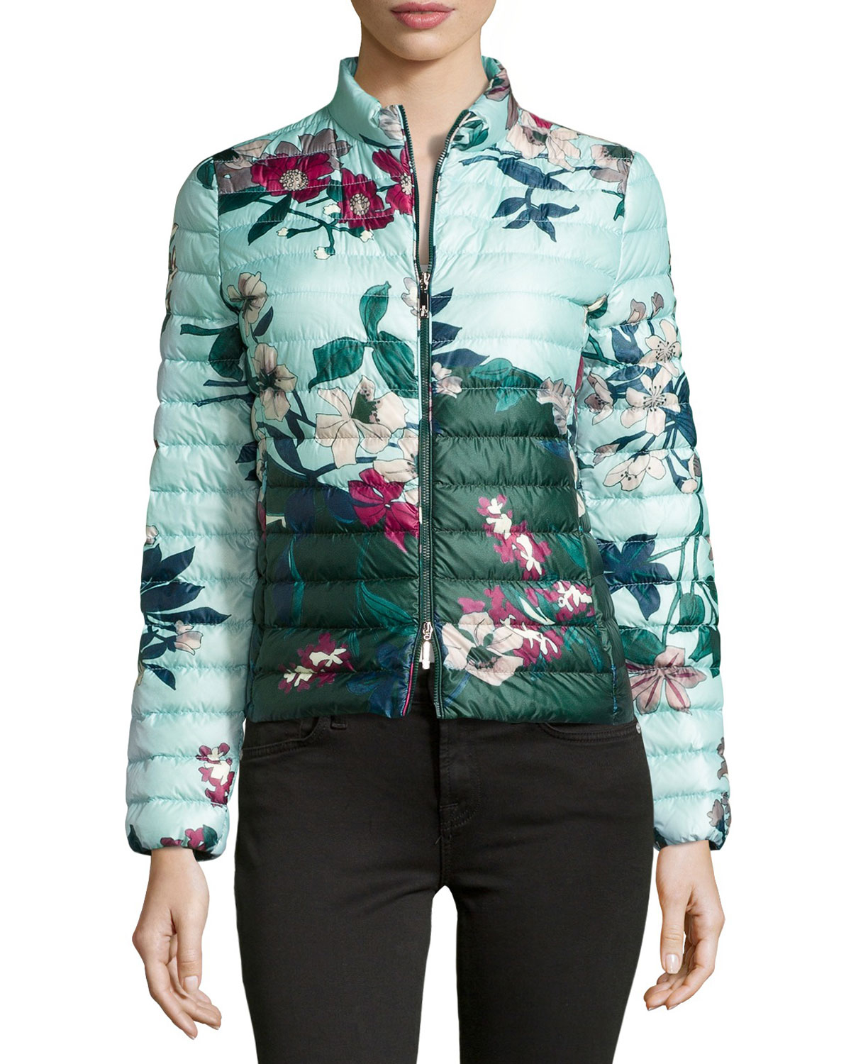 Lyst Moncler Heudelet Floral Print Quilted Jacket In Blue