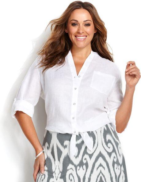 White Dress Blouse Plus Size 68