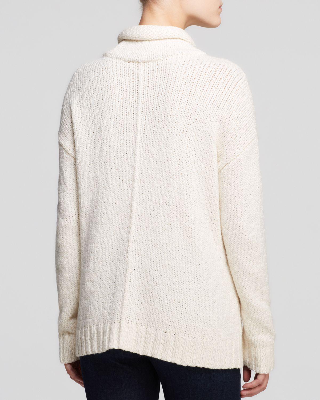Eileen fisher Cotton Turtleneck Sweater in White | Lyst