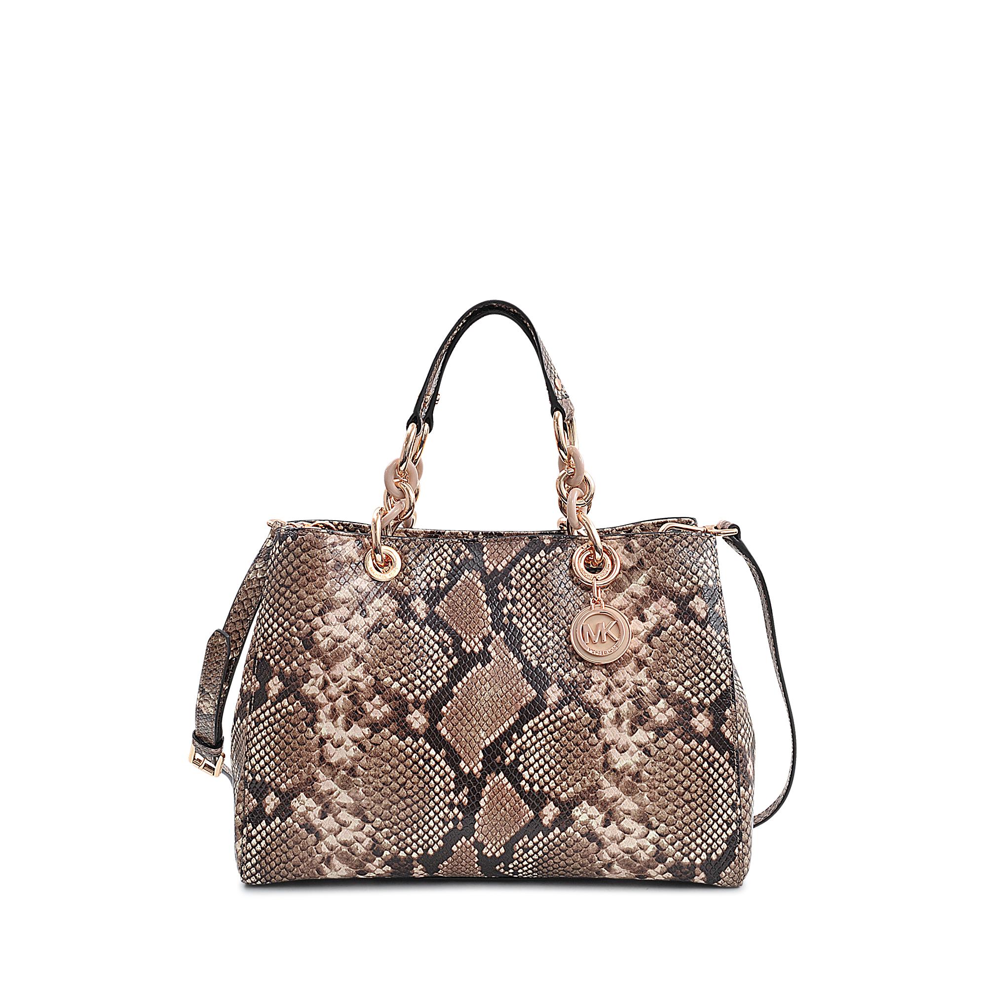 michael kors cynthia snake embossed satchel lyst. Black Bedroom Furniture Sets. Home Design Ideas