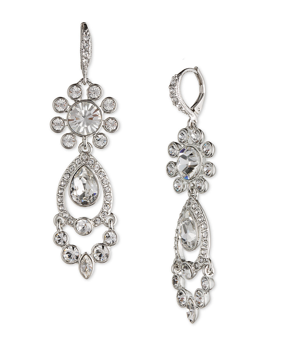 givenchy silver tone chandelier earrings in