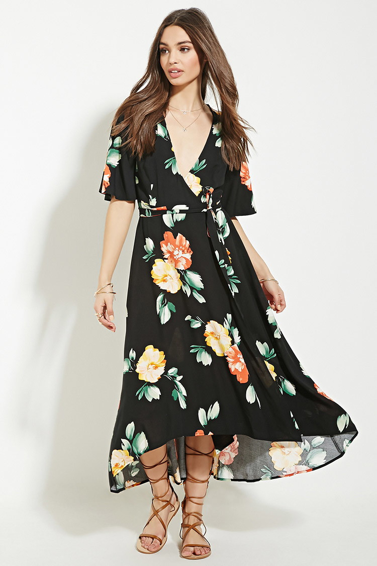 Forever 21 Floral Print Wrap Midi Dress In Black Lyst
