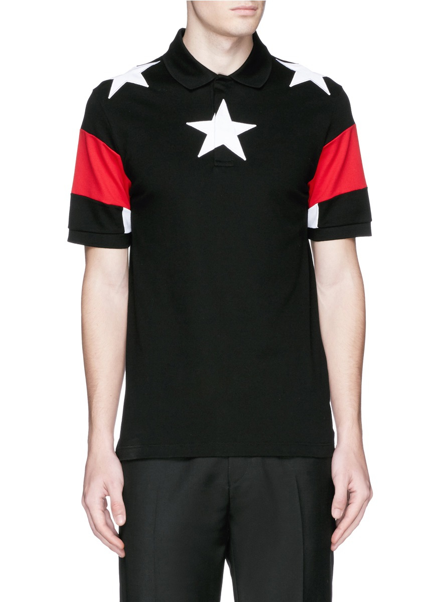 Givenchy star appliqu colourblock polo shirt in black for for Givenchy 5 star shirt