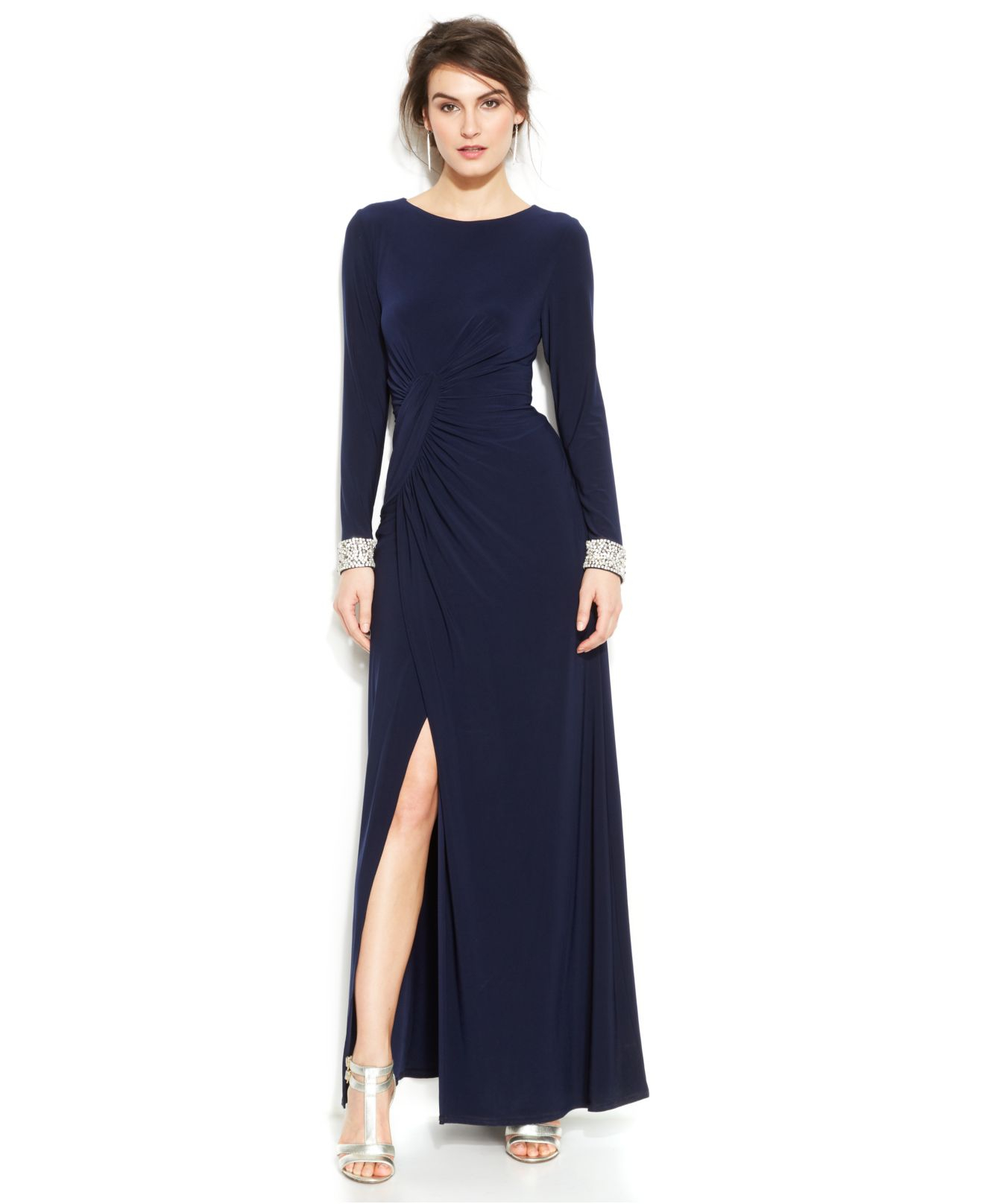 Vince Camuto Long Sleeve Embellished Faux Wrap Gown In
