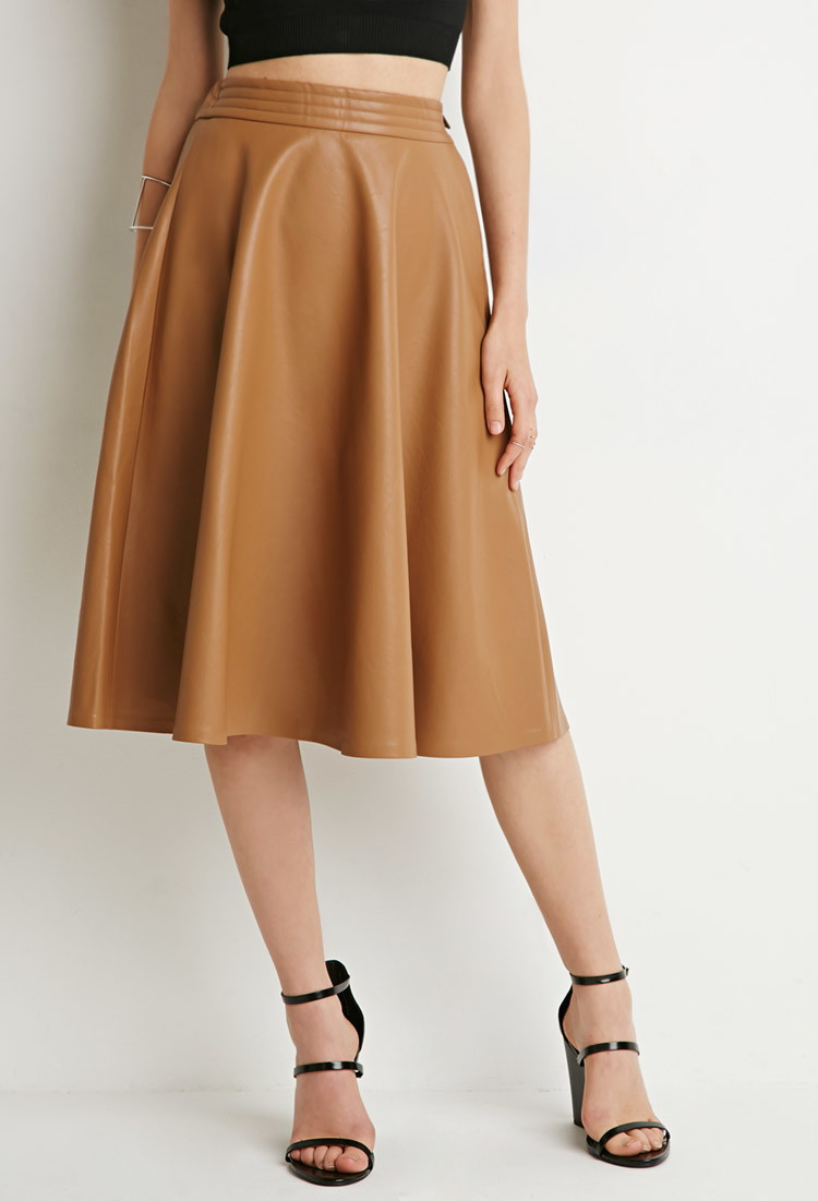 Forever 21 Faux Leather A-line Skirt in Brown | Lyst