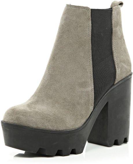 river island grey suede block heel chelsea boots in gray