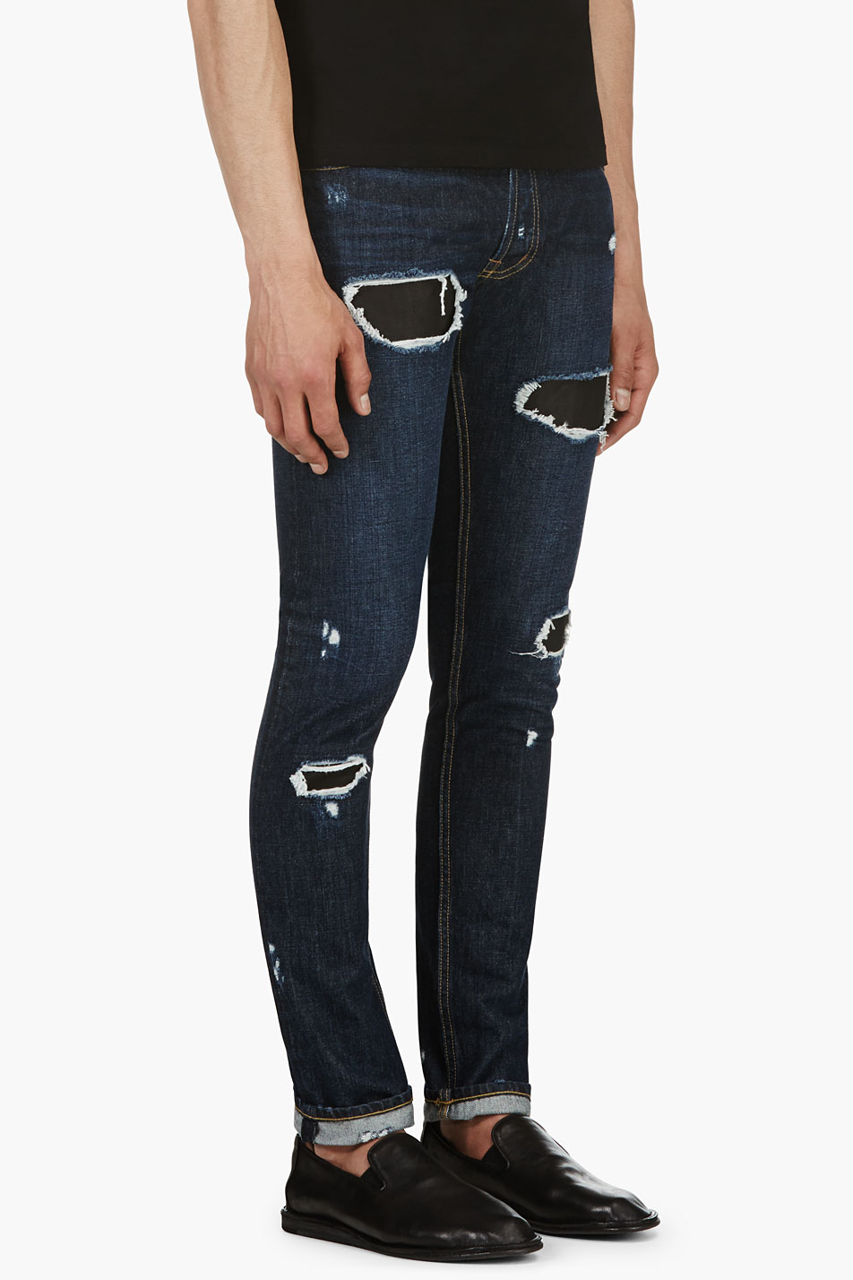 Public School Indigo Distressed Leather Patch Skinny Jeans