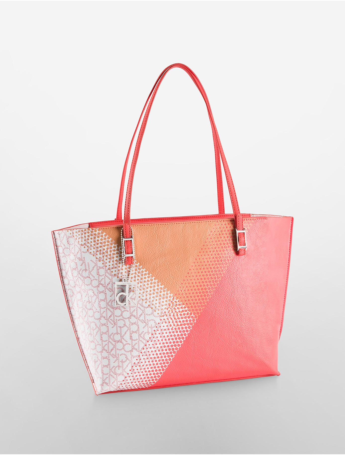 lyst calvin klein hailey logo dot shopper tote bag in pink. Black Bedroom Furniture Sets. Home Design Ideas