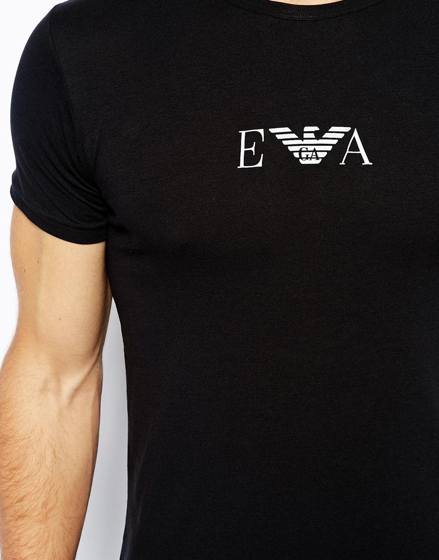 emporio armani men 39 s black crew neck 2 pack t shirt with chest logo in. Black Bedroom Furniture Sets. Home Design Ideas