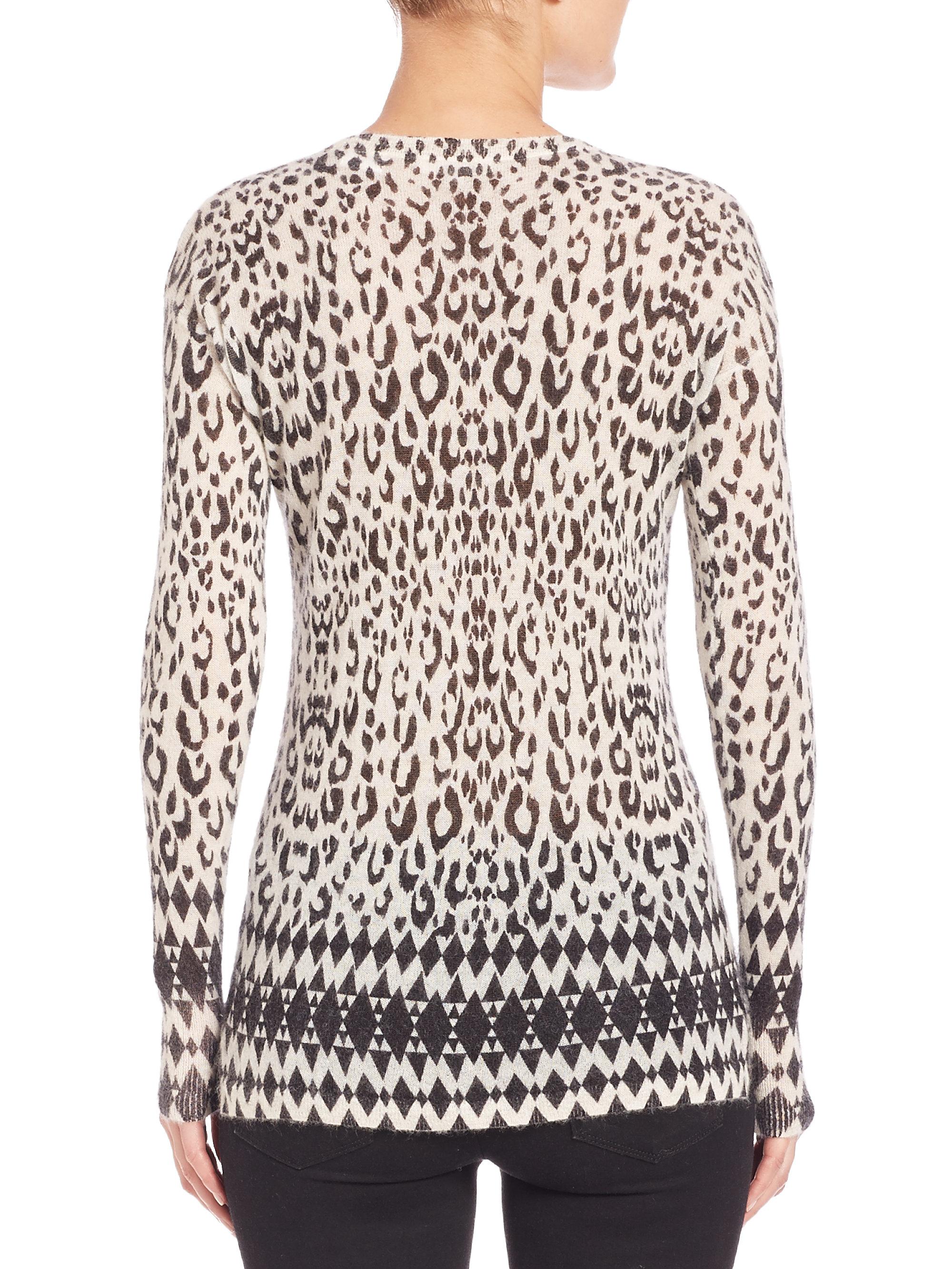 Rebecca taylor Leopard-print Sweater in Black | Lyst