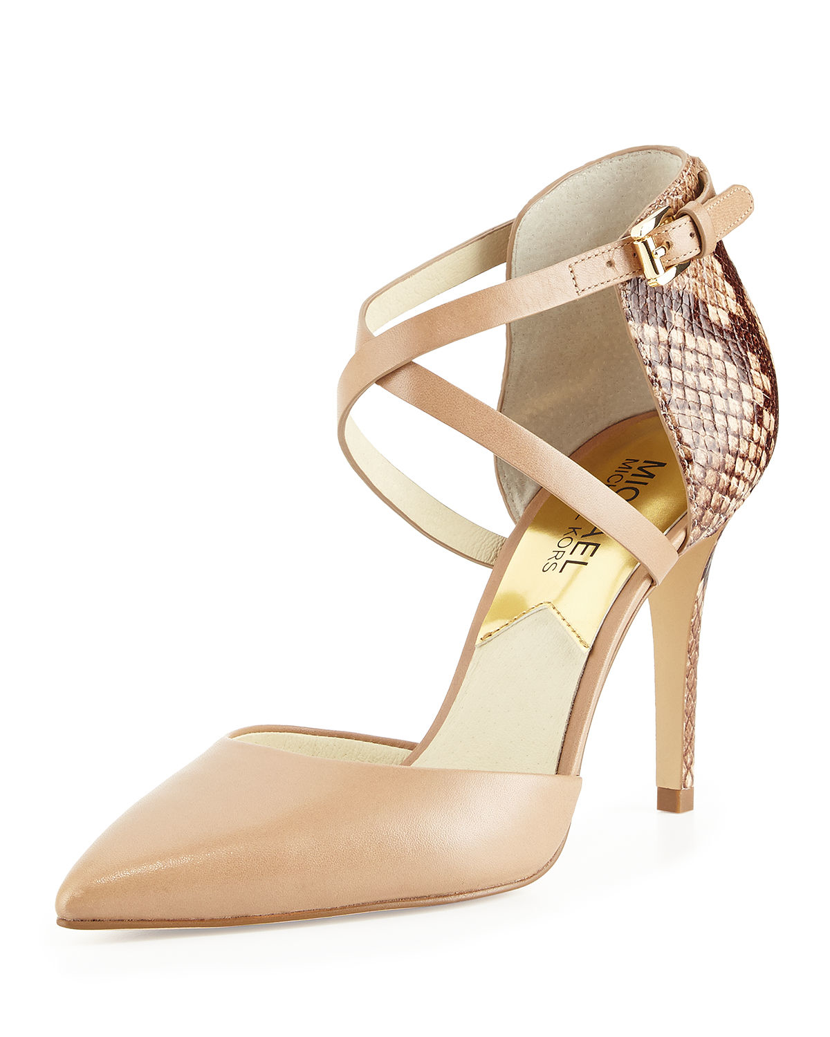 42d7a7419011 Lyst - MICHAEL Michael Kors Alexia Two-Toned Leather Pumps in Natural