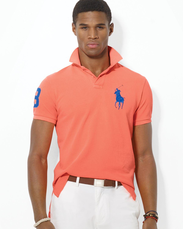 11776b1b3ef3 Ralph Lauren Polo Custom Big Pony Mesh Polo Shirt - Slim Fit in Pink ...