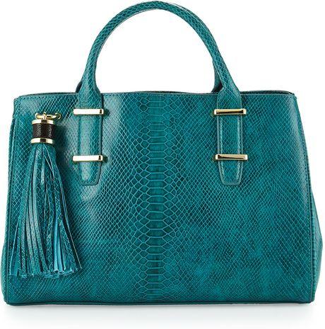 Ivanka Trump Snakeprint Doublehandle Tote Bag Jade in Blue (null)