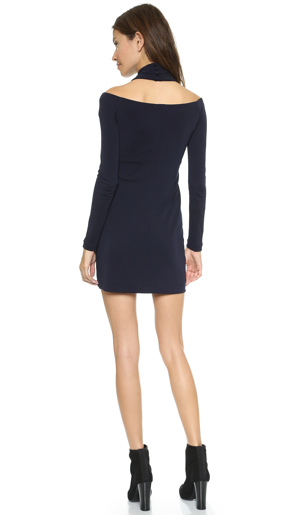 Lyst - Alexander Wang Long Sleeve Shoulderless Dress Marine in Blue