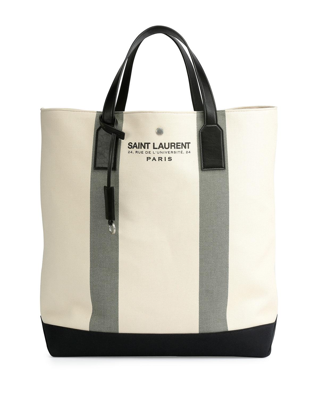 bb02fca3e855 Saint Laurent Logo Print Beach Tote Bag in Natural - Lyst