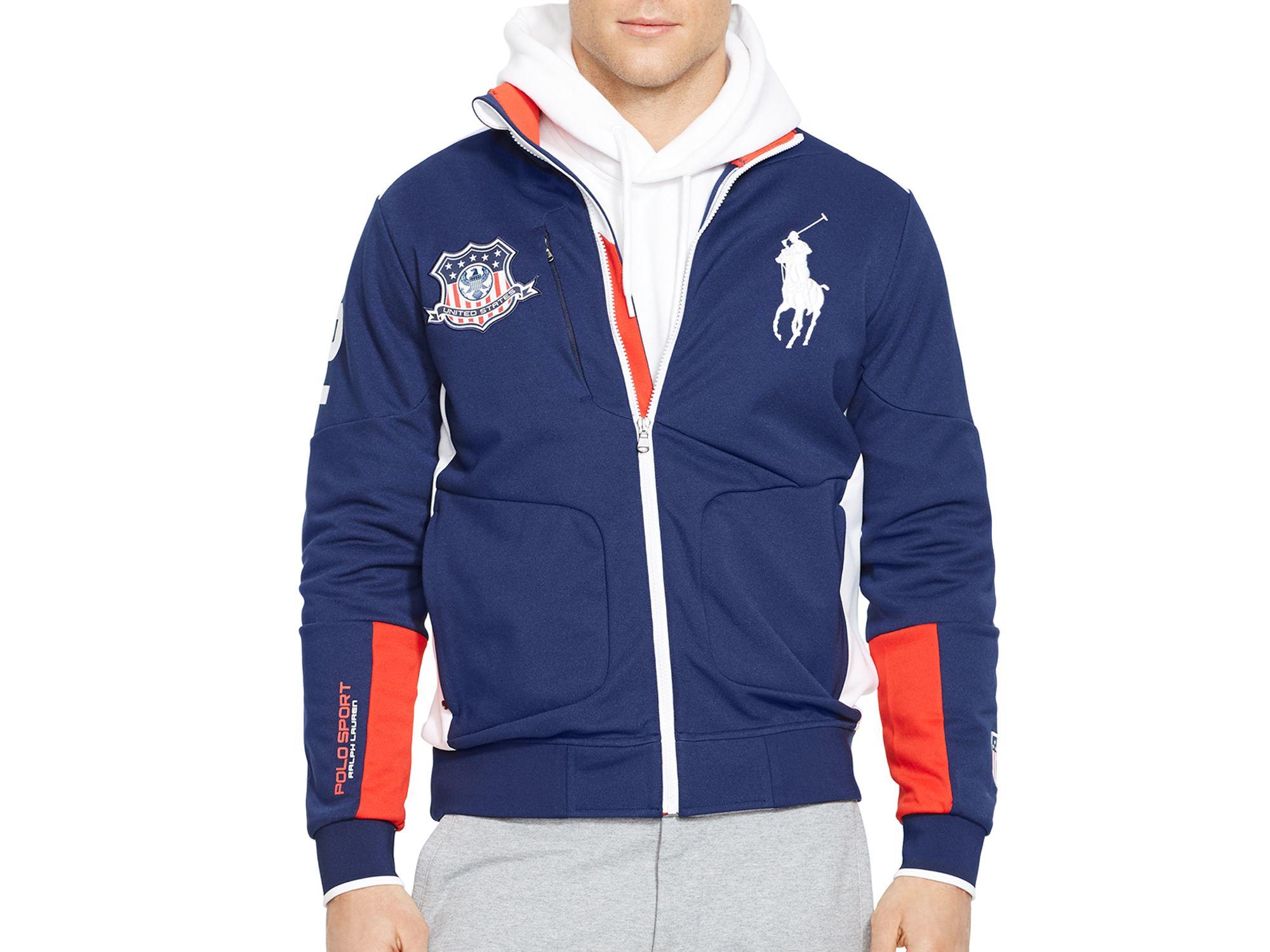 ralph lauren polo sport usa full zip track jacket in blue for men. Black Bedroom Furniture Sets. Home Design Ideas