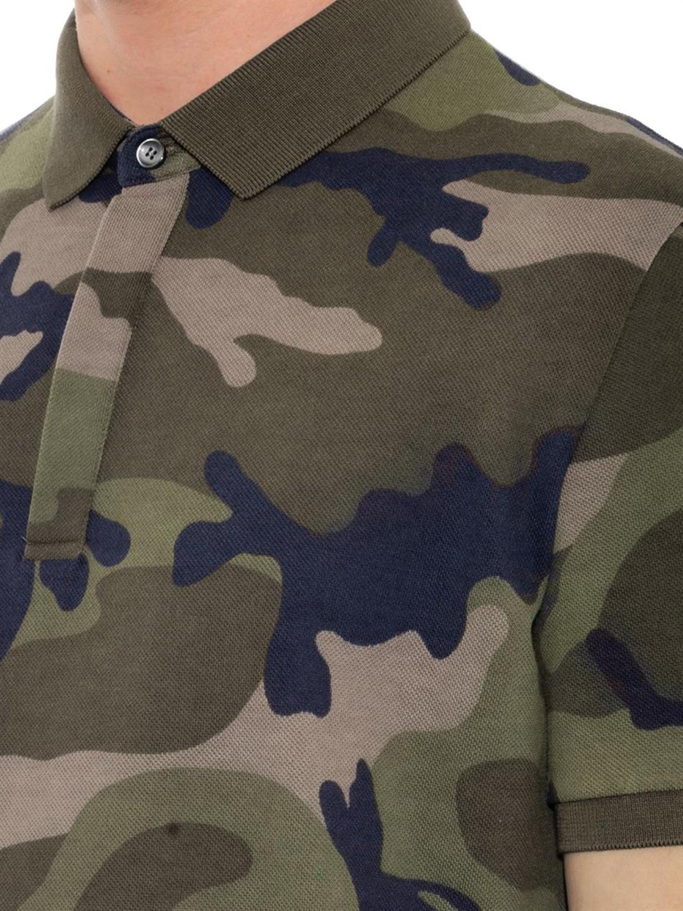 Lyst valentino camo print cotton polo shirt for men for Camo polo shirts for men