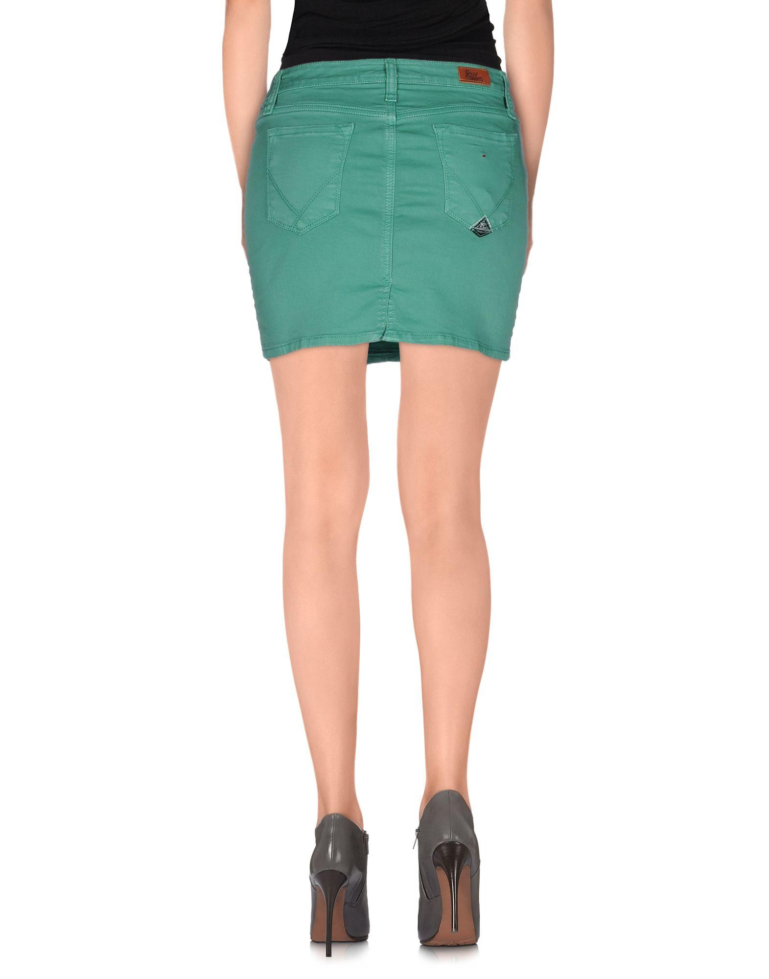 roy rogers denim skirt in green lyst