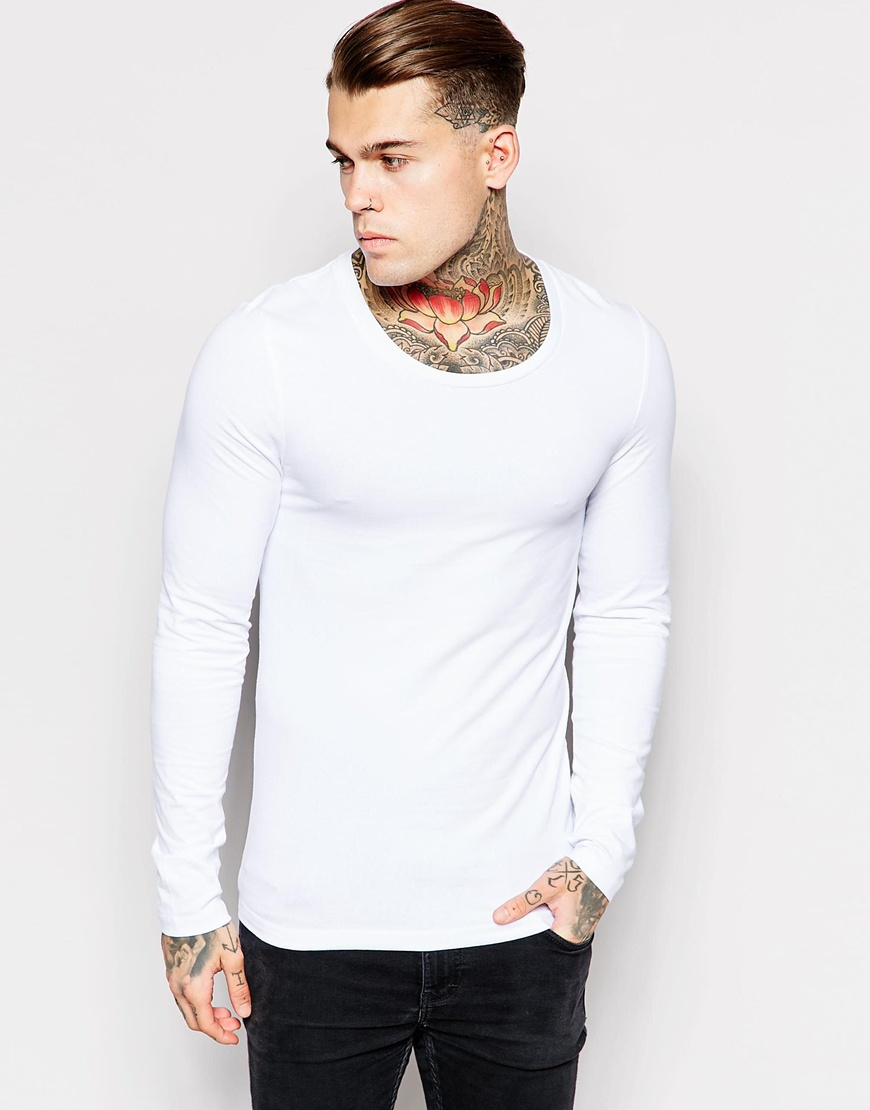 Lyst asos extreme muscle fit long sleeve t shirt with for Scoop neck long sleeve shirt