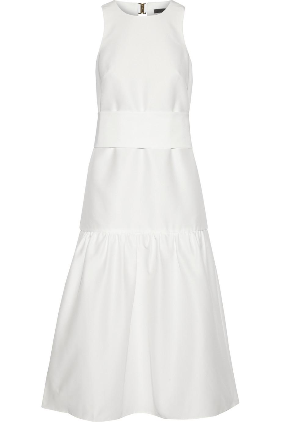 Lyst - Tibi Open-Back Faille Midi Dress in White