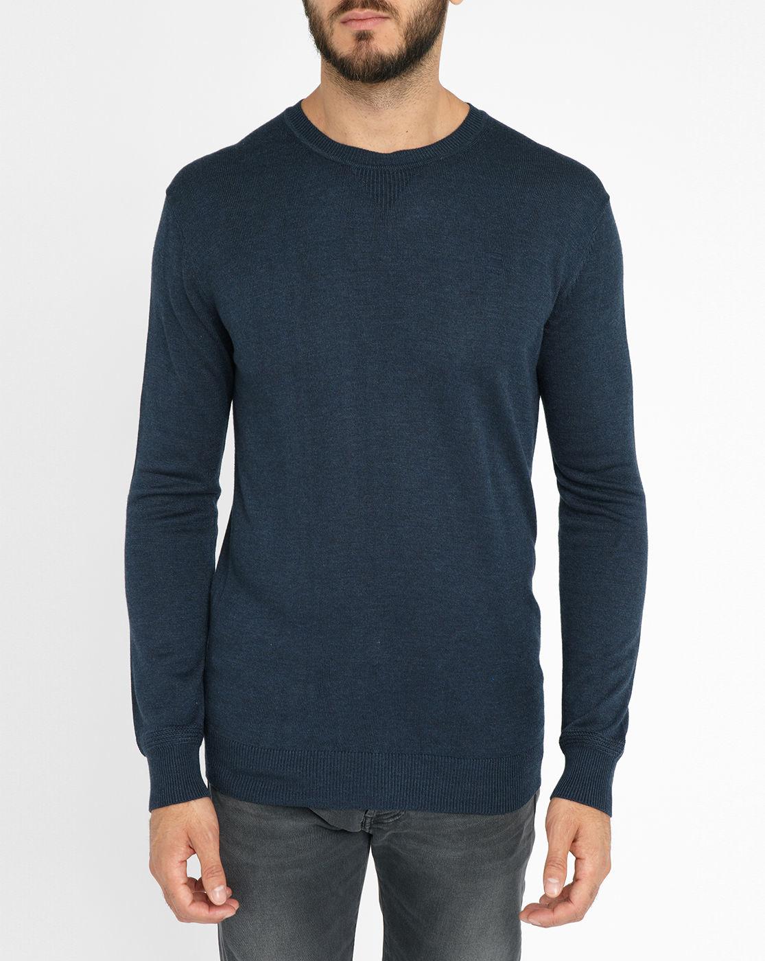g star raw navy berlow knit chest logo round neck sweater. Black Bedroom Furniture Sets. Home Design Ideas