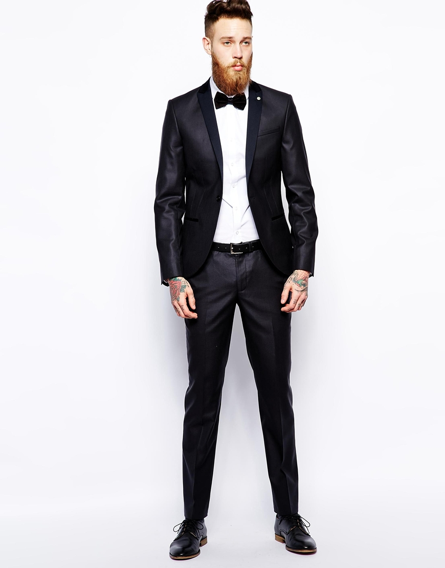 Noose and monkey Super Skinny Suit Jacket With Contrast Lapel in