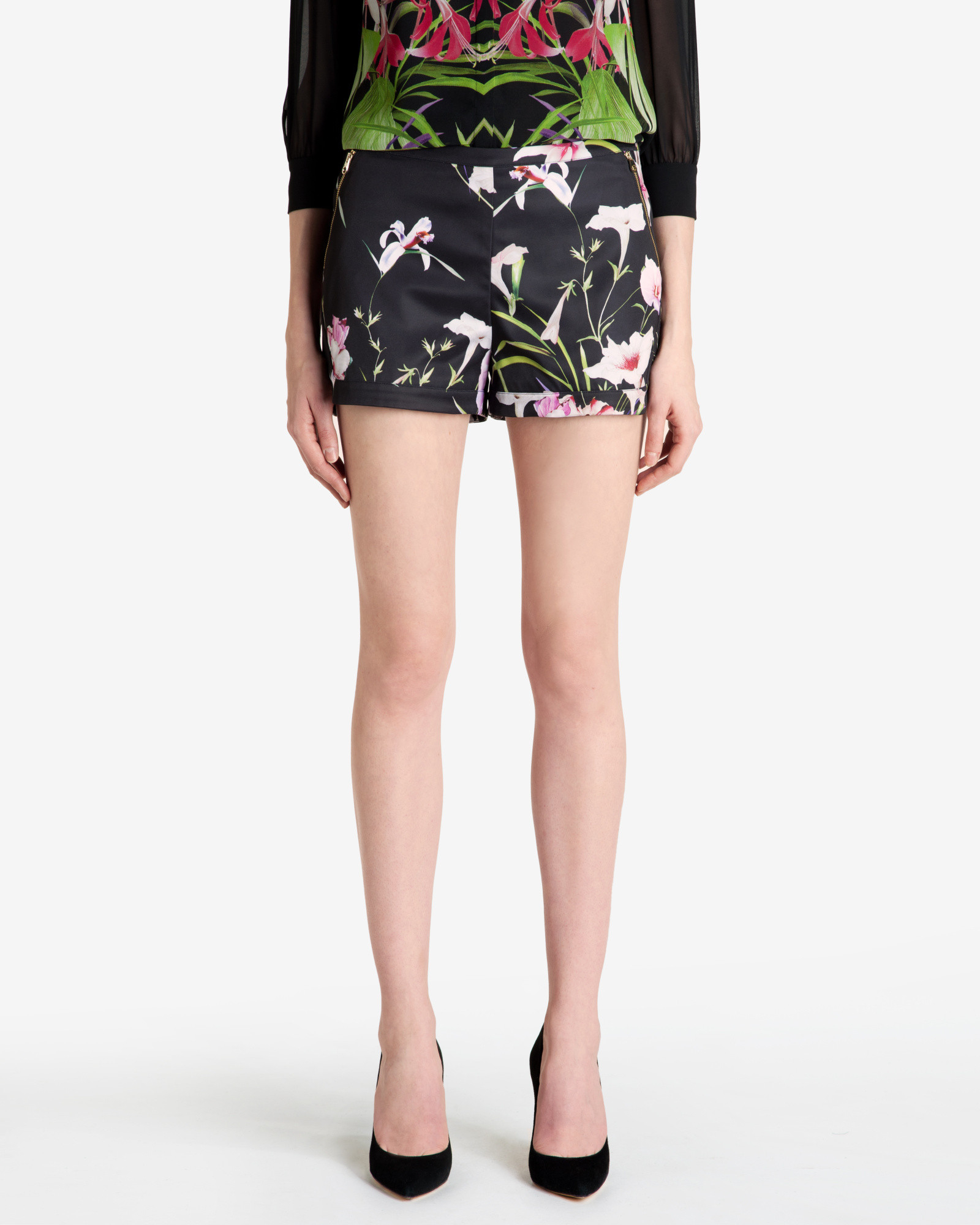 710109126 Lyst - Ted Baker Mirrored Tropics Shorts in Black