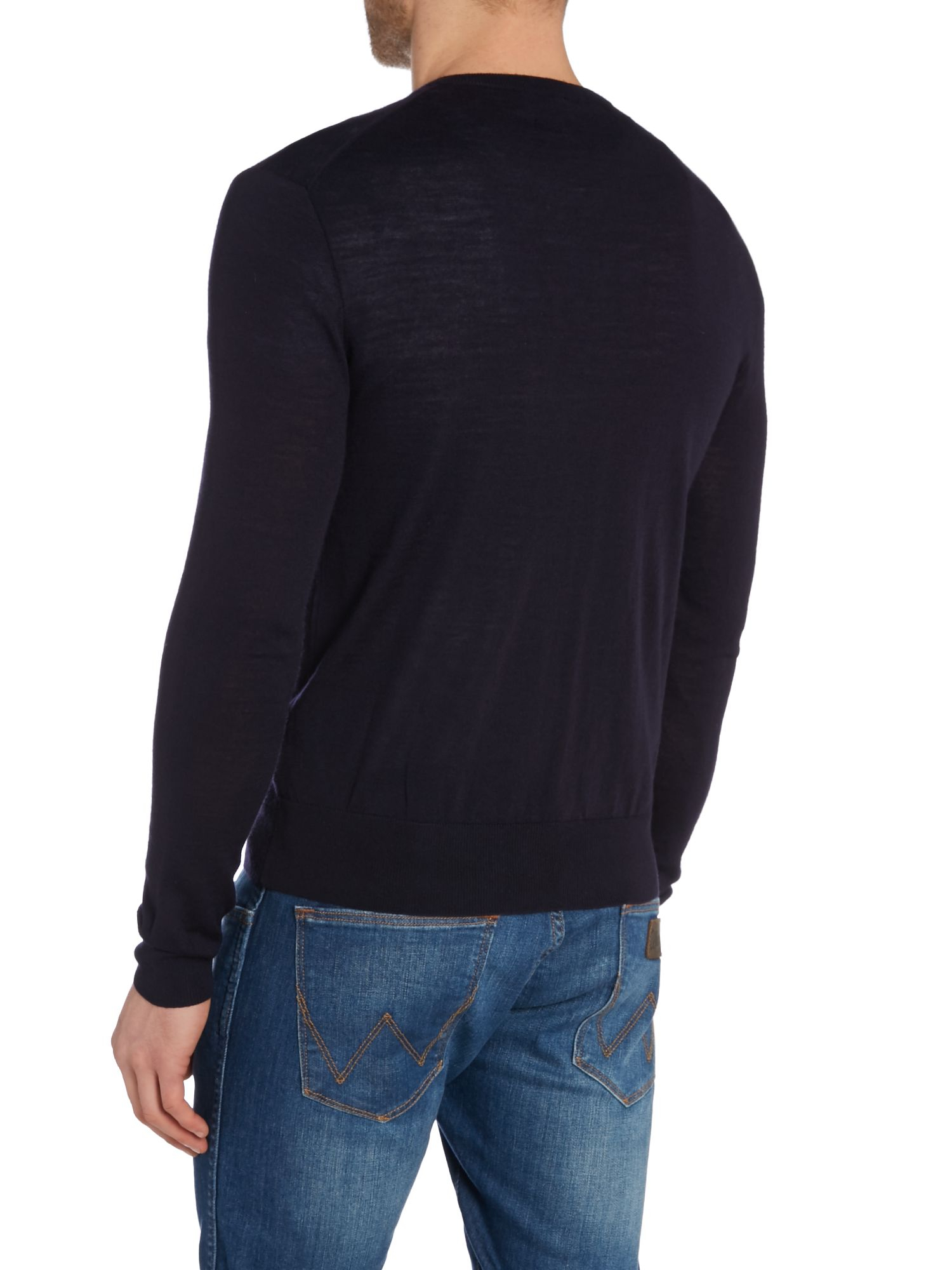 polo ralph lauren blue plain v neck pull over jumper for. Black Bedroom Furniture Sets. Home Design Ideas