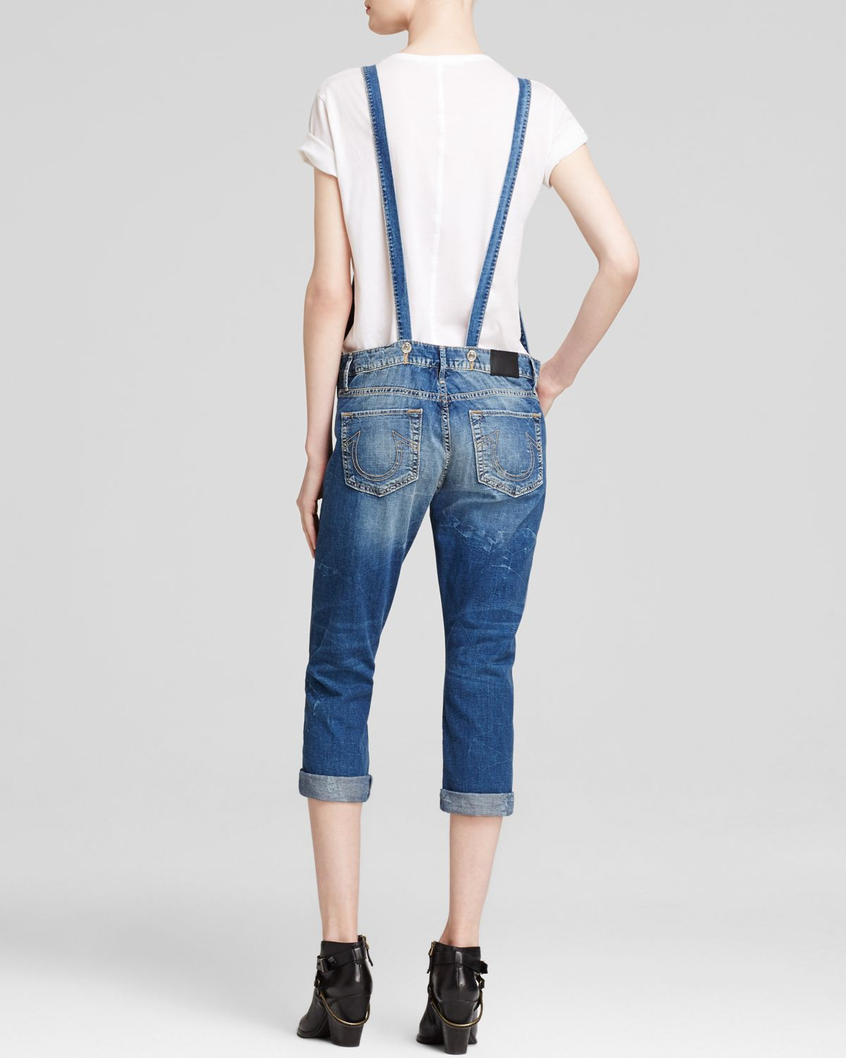 667eefd4dc9c True Religion Overalls - Katie Cropped In Marin Harbor In Metallic