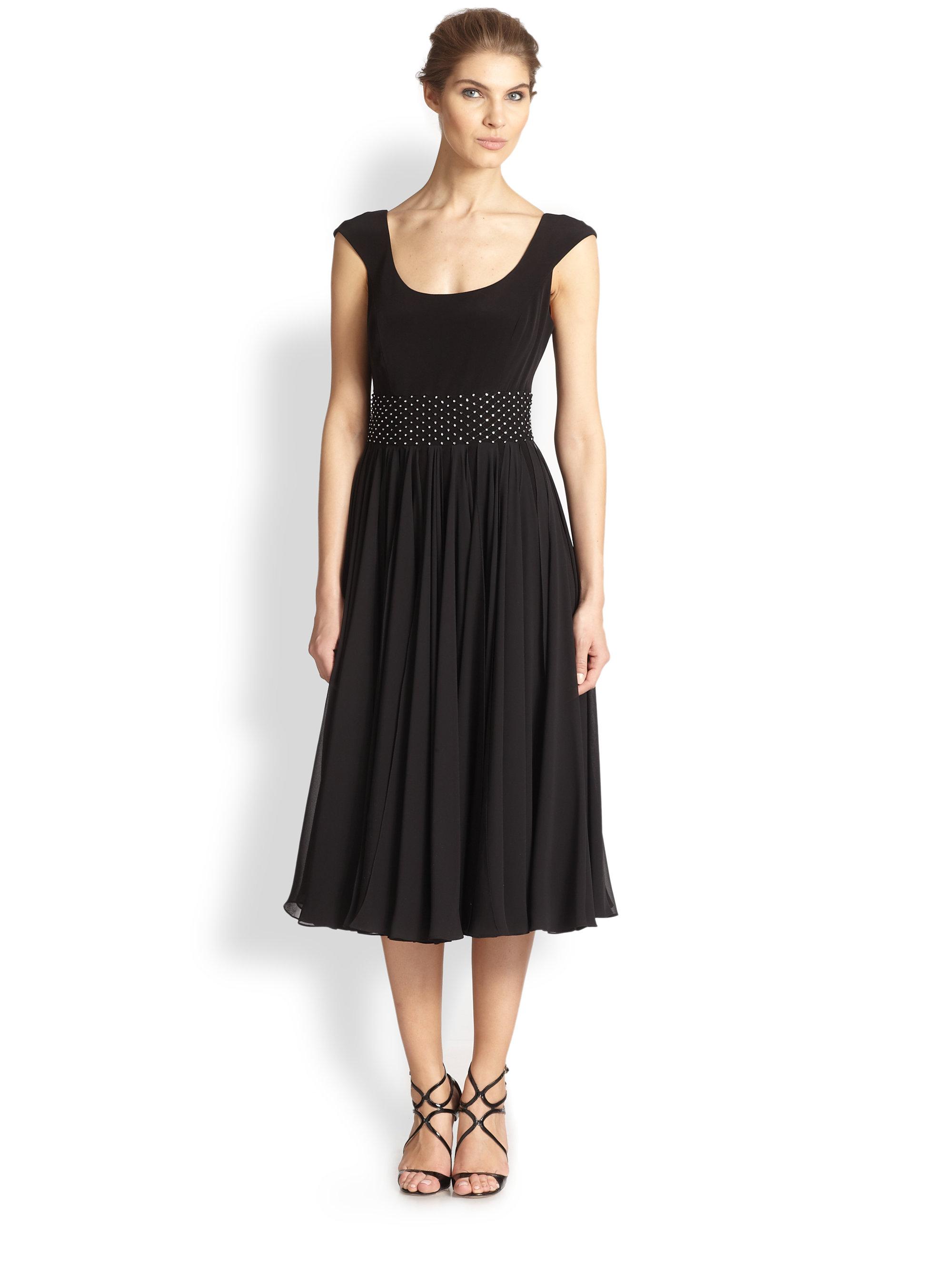 unger beaded tea length dress in black lyst