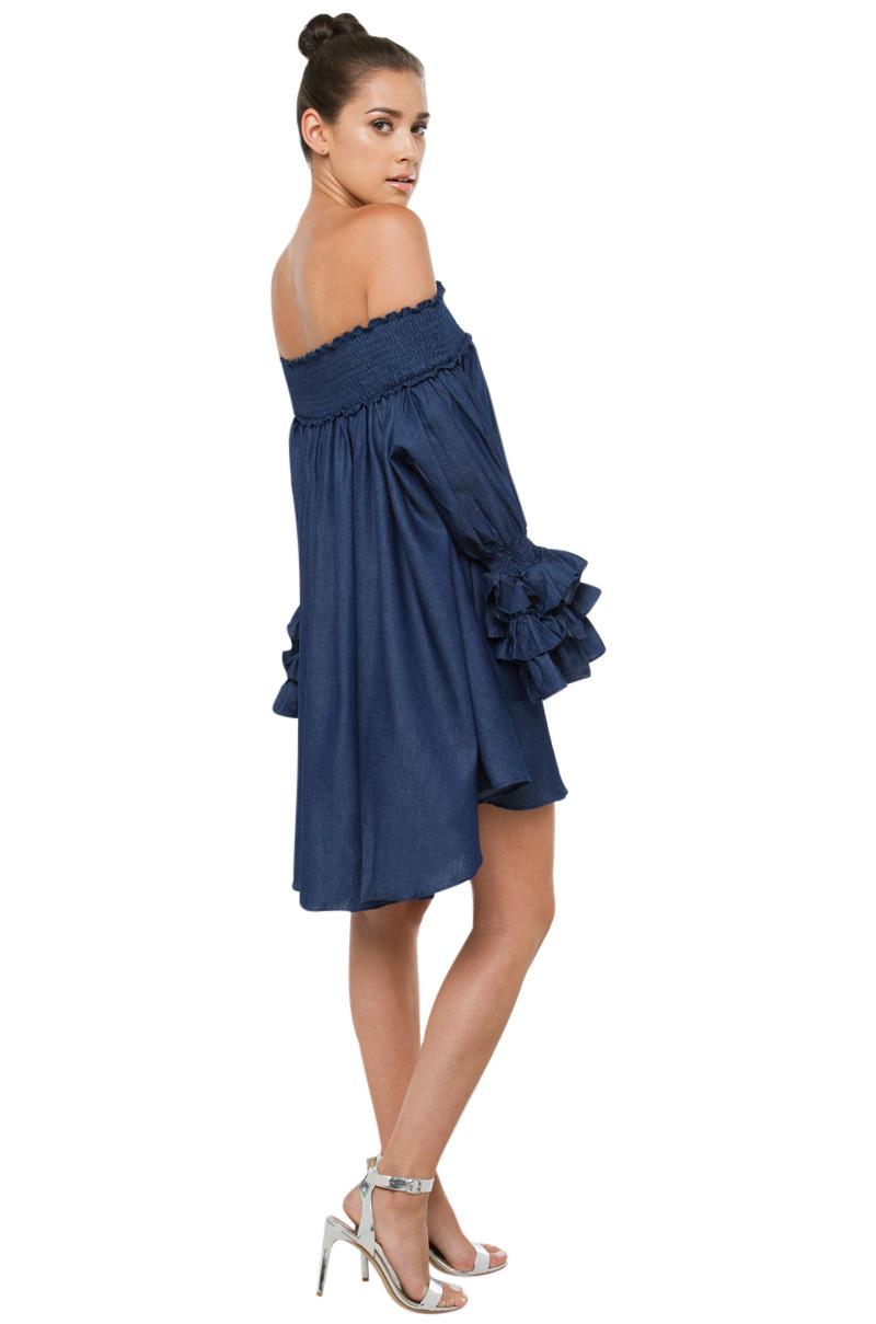 Off Shoulder Blue Dress Photo Album - Reikian