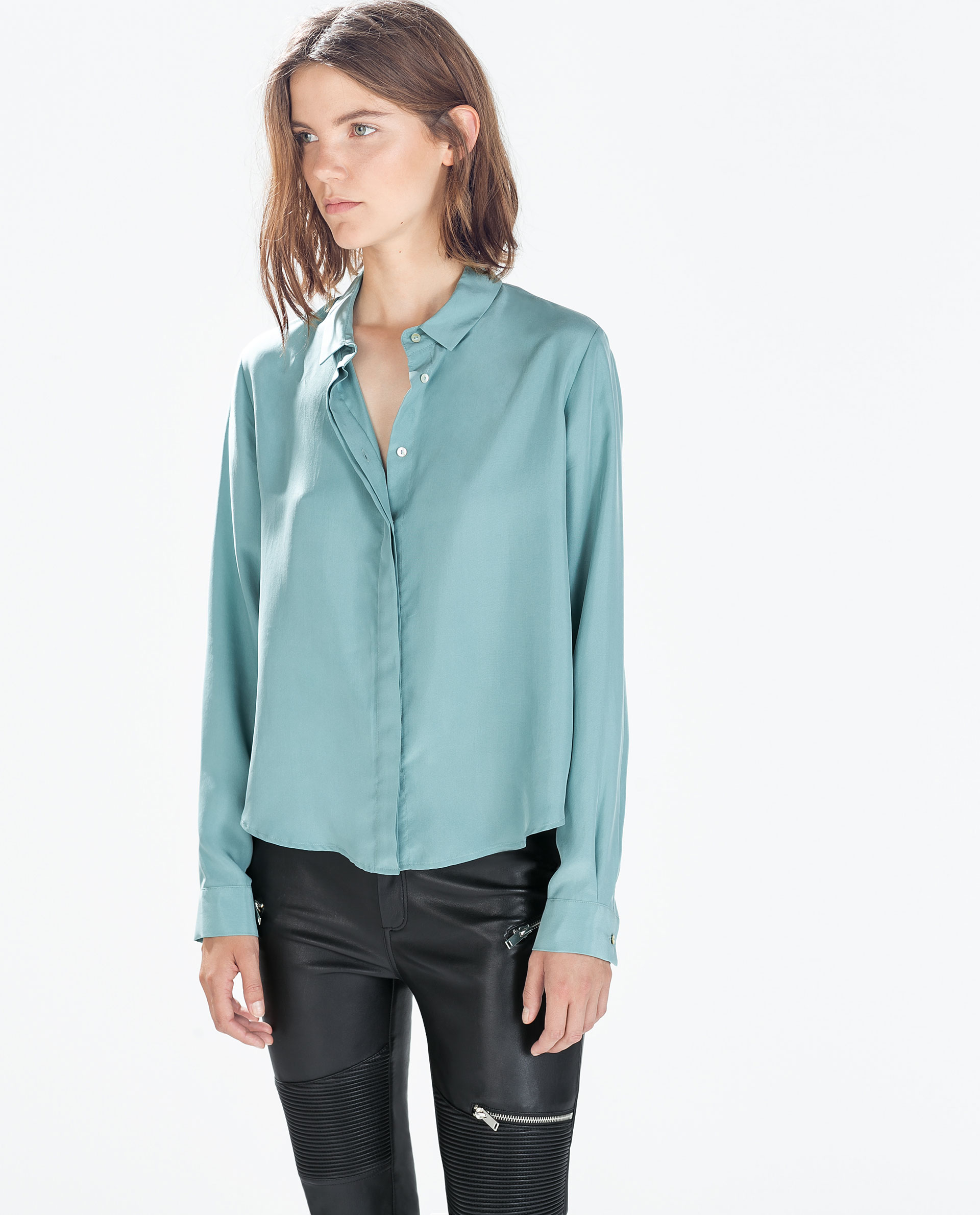 Zara Blue Silk Blouse 18