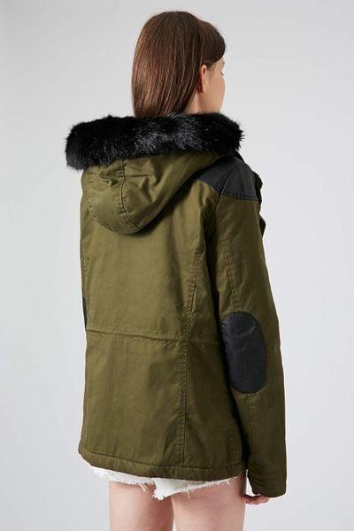 Borg Lined Short Padded Parka Jacket Short Padded Parka Jacket